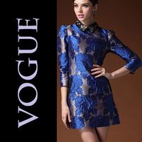 Free Shipping 2013 Ladies Flower Pattern Silk Dress Agents Join Women's Embroidery Print Blue And Yellow Dress For Female Knee