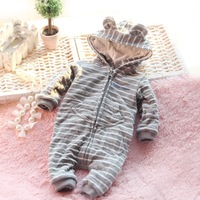 2013 New Free Shipping Autumn Winter Newborn Clothes Baby Cotton Double Layer Infant Romper Girls and Boys Jumpsuit