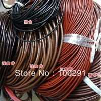 ROUND LEATHER CORD coffe black red coffe 5.0mm LOOP 100 METERS
