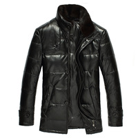 Jenmick autumn and winter male sheepskin mink white duck down genuine leather clothing