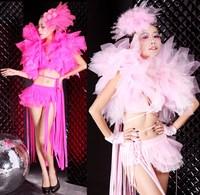 Jazz dance fashion sexy ds costume gauze tassel female singer set 8380