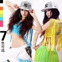 Tassel tops sexy t-shirt ds costume hip hop hip-hop bare midriff top 8115