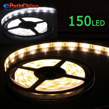 Warm White 5M SMD 5050 Waterproof Flexible LED Strip Rope Light 150 LED Stripe Lamp 12V DC Power, .