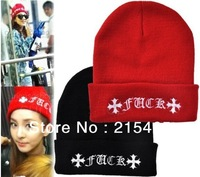 Wholesale 2013 Winter Fashion FUCK Wool Cap Beanie Women Winter Warm Hat For Men Knitting Hat, free shipping