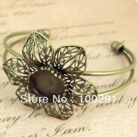 free shipping ##### 546 10pieces/lot  antique brass bracelet base bracelet blank flower 42mm and  round stone base 15mm