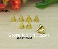 hot sale##7*10mm  100pcs Gold SILVER Metal Spike Studs Rivet Punk Bag Leathercraft DIY