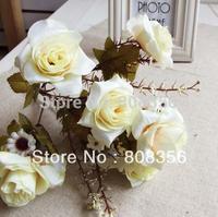 "NEW Arrivals 20Pcs 31cm/12.2"" Length Artificial Silk Flowers Simulation Rose Bush with Gypsophila Bride Bouquet Wedding Flower"