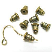 WU-A77/Free ship!!!Bronze clutch metal earrings backs stopper earnuts stud 6x5mm