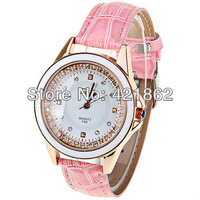 CaiQi 598 Womens Watches 4 Rhinestone Squares and Dots Indicate Leather Watchband Wrist Watch Gift Items Free Shipping