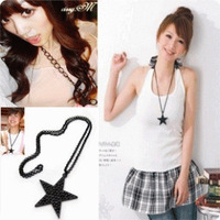 C9003 Black Star pentacle long vintage fashion necklaces