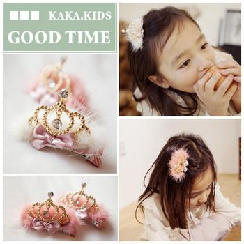 G00D Children Large golden crown plush hairpin /hair accessories/headwears for girls/kids/bady