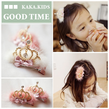 Free Shipping 10pcs/lot G00D Children Large golden crown plush hairpin /hair accessories/headwears for girls/kids/bady
