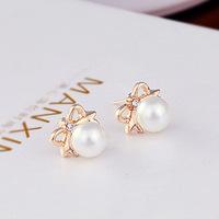 (Minimum order $10) 2014 new E489 Korean big pearl wholesale cute flash Crystal bow earrings jewelry 3pair
