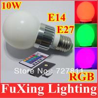 [Silver Ring]New 10W RGB led lighting Colorful E27/E14 LED Bulb Lamp Spot light with Remote Control,AC100-240V