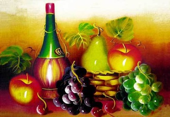 Free shipping 2014 new wall decor pictures for Dining room,Delicious Fruits with Wine, Reproduction of  archaic oil painting