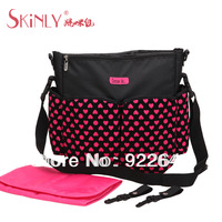 Hot Love is Mother's Flocking Material Rose Heart Multifunctional Diaper Baby Bag One Shoulder Nappy Handbag Large Capacity