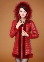 2013 Winter Women's Genuine Sheepskin Leather Down Parkas Coat Raccoon Fur Hoody Female Warm Outerwear Plus Size VK1168
