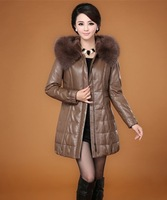 2013 Autumn and Winter Women's Genuine Sheepskin Leather Down Parkas Coat Female Hooded Long Outerwear Plus Size VK1173