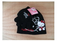 (10 Sets/Lot) Fashion And Cute 100% Cotton 4~8 Years 2 in 1 Gril's Hello Kitty Black Hat+Gloves,Wholesale Only