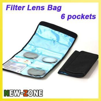 Free Shipping 1PCS 6 Pockets Filter Lens Case Bag Holder Pouch UV CPL C5H