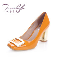 2013 metal side buckle genuine leather high-heeled single shoes fashion square toe high quality women's shoes