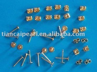 gold plated earring post with stopper back set Jewelry Findings Accessories Fittings Components