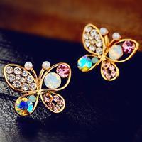 (Minimum order $ 10) 3pair E321 Korean woman hollow Crystal pearl earrings butterfly earrings wholesale jewelry 3pair