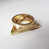 Wholesale New Fashion 18K Gold Plated Retro Punk Magic Triangle Finger Rings Jewelry Accessories For Woman x3022