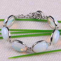 "18x13MM Opal Beads Bracelet Bangle 8"" Jewelry Free shipping G070"