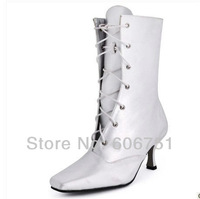 Square toe satin wedding boots bridal mid-calf lace-up fashion medium heel boots custom made shoes for women