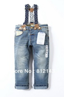 Retail  new fashion children's acid wash boys girls overalls denim pants jeans kids baby blue Freeshipping