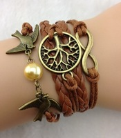 SL010  3pcs Bangle Cuff Bracelet Tree of life  copper Karma Lover Birds Bracelet Pearl Personalized Bracelet