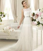 Top Sale Princess Sleeveless Tulle Beaded Long New Fashion Free Shipping Wedding Dress 2014
