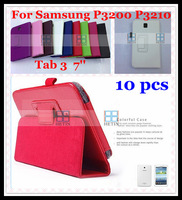 Free shipping 10 pcs for Samsung Galaxy Tab 3 7.0 P3200 P3210 Folding folio Litchi Magnetic Stand Leather tablet Case Cover