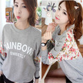 Trend Knitting  2013 New The Top Women's hoodies fashion casual Loose Printed lace Winter Coat plus-size S,M,L,XL
