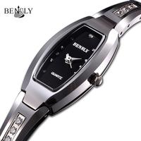Brand new BENSLY 2013  women's fashion design  ultra thin tungsten steel  bracelet watch--Free Shipping