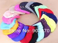 2013  New Arrivals 20pcs /lot   winter knitted jelly fluo men's hat plastic rivets women's  Beanies cap