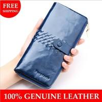 100% Genuine Leather women wallet Oil cowhide wallets for women Clutch bag fashion purse female Long leather Wallet card holder