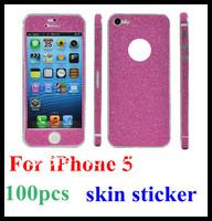 Wholesale 100pcs/lot Fashion diamond glitter Stickers Bumper Full Body Protective skin Sticker screen film For iPhone 5