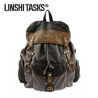 Linshi tasks cowhide fashion nostalgic canvas backpack