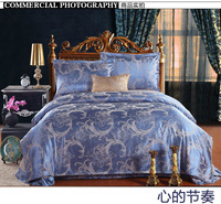 FREE SHIPPING  Fashion home textile satin luxury tencel jacquard four piece set bedding wedding four piece set bedding