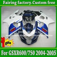 Race fairings set for SUZUKI 2004 2005  K4 2004 2005 GSX R600 GSX R750 white/blue/black  fairing kit  xy98