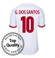 Mix Order Top Quality 13-14 Mexico away #10 G.DOS SANTOS JERSEY White Football Jersey 2013-2014 Cheap Soccer Uniforms-NG