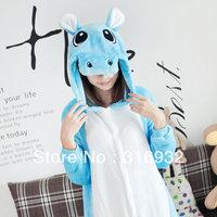 K2 Flannel blue Hippopotamus hippo animal onesie autumn and winter fleece long-sleeve female Pajama