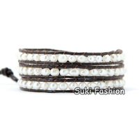 New Arrival 4-5MM  Irregular Freshwater Pearl 3X Leather Wrap Bracelet, Fashion Pearl Bracelet