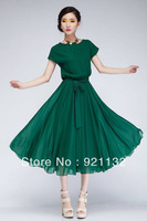 Free Shipping B6098 Plus Size Elegant Lady Large Lap Ruffles Round Neck Short Sleeve Solid Color Chiffon Long Dress Black/Green