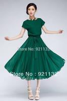 Free Shipping B6098 Plus Size Elegant Lady Large Lap Ruffles Round Neck Short Sleeve Solid Color Chiffon Long Dress Black/Green