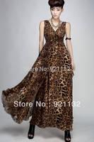 Free Shipping B6097  Women's Top Fashion High Quality V-neck Sleeveless Leopard Large Lap Chiffon Maxi Dress Long Dress