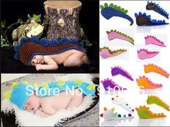 Retail Newborn Baby Infant Knit Dinosaur Beanie Hat Photography Props Costume Handmade Children Animal Cap