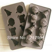 FREE SHIPPING !!! Silica gel Cake Mold Christmas Series Bell Bear Mould DIY Handmade Soap Chocolate Mould